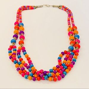 Multi strand colorful wood bead statement necklace